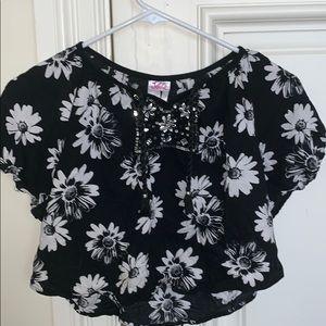 black and white sunflower shirt sleeve shirt